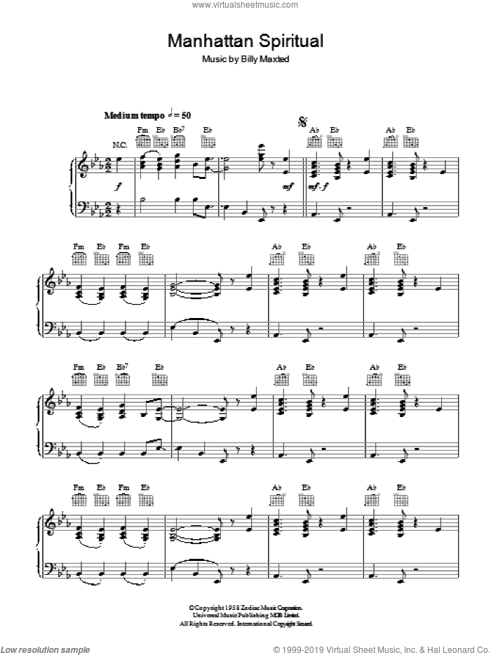 Manhattan Spiritual sheet music for piano solo by Billy Maxted. Score Image Preview.