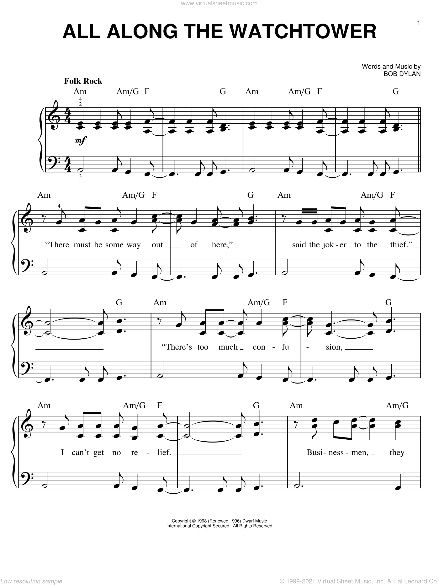 All Along The Watchtower sheet music for piano solo by Bob Dylan, easy skill level
