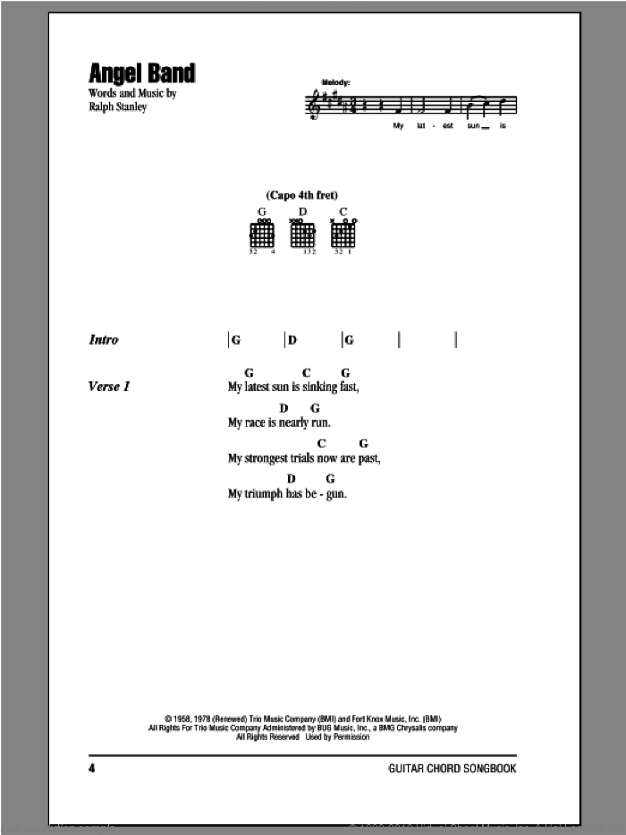 Angel Band sheet music for guitar (chords) by The Stanley Brothers and Ralph Stanley, intermediate skill level