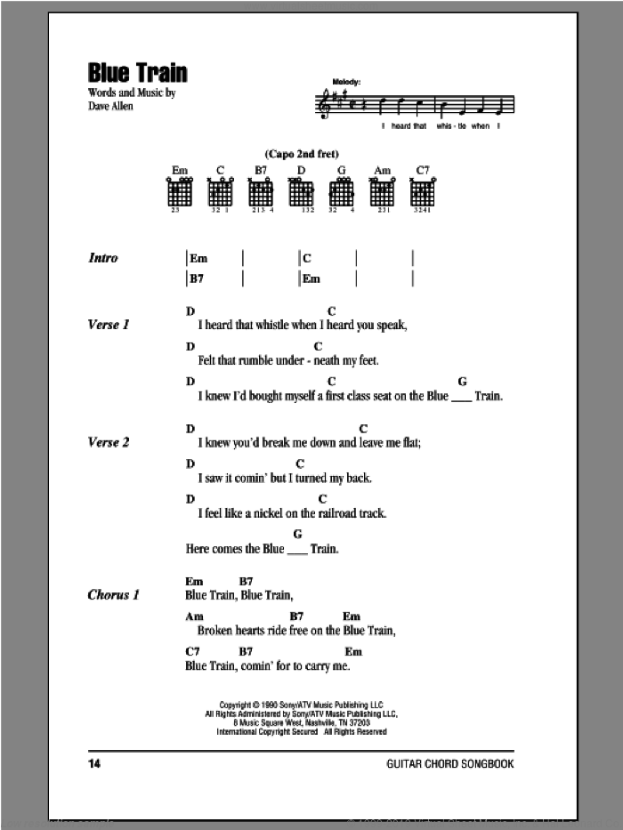 Blue Train sheet music for guitar (chords) by Nashville Bluegrass Band and Dave Allen, intermediate skill level