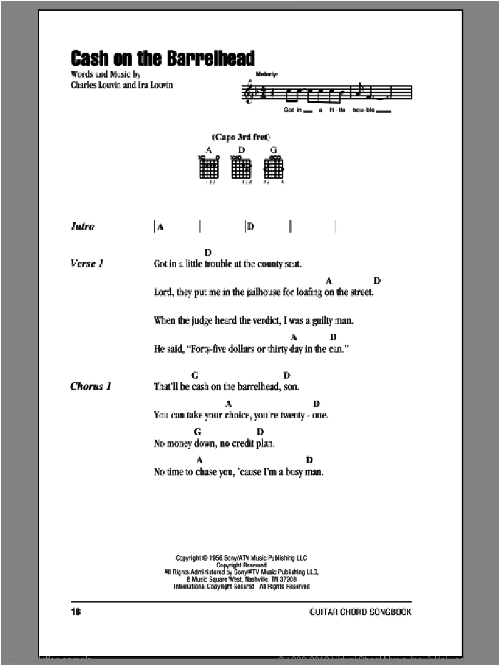 Cash On The Barrelhead sheet music for guitar (chords) by Charles Louvin and Ira Louvin. Score Image Preview.