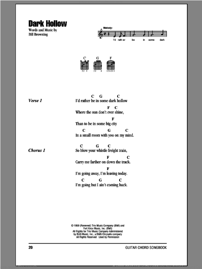 Dark Hollow sheet music for guitar (chords) by The Grateful Dead, intermediate. Score Image Preview.