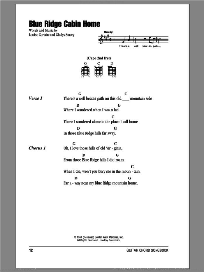 Blue Ridge Cabin Home sheet music for guitar (chords) by Louise Certain, intermediate. Score Image Preview.