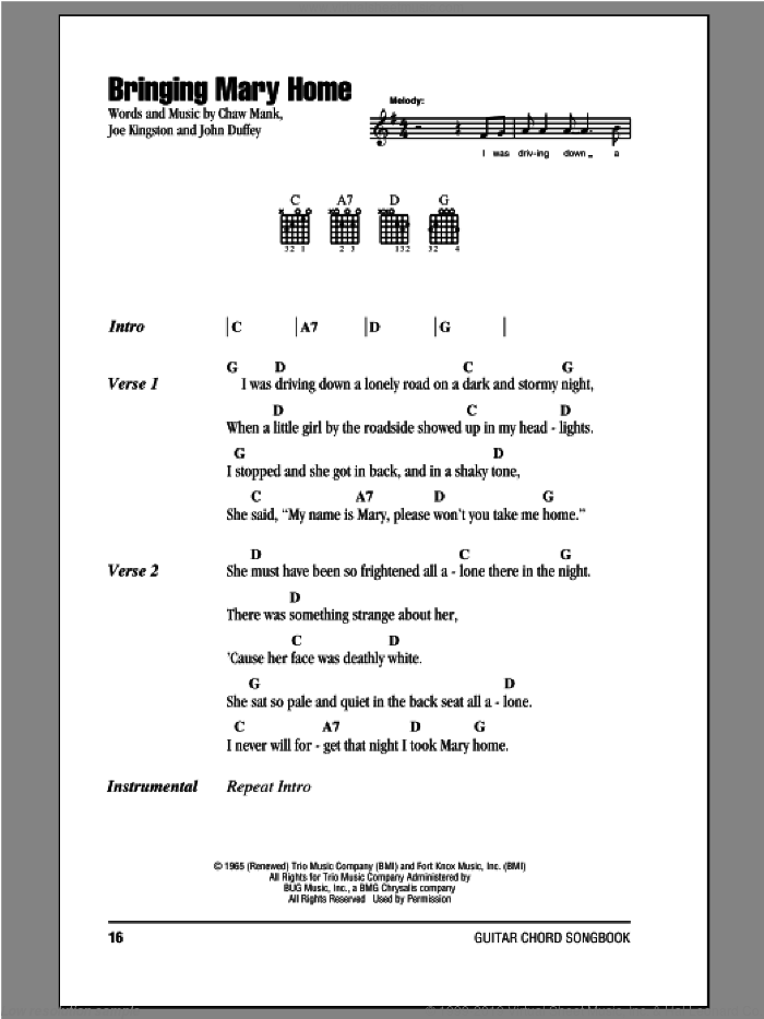 Bringing Mary Home sheet music for guitar (chords) by The Country Gentleman, Chaw Mank, Joe Kingston and John Duffey, intermediate skill level