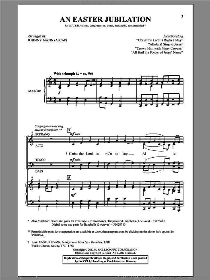All Hail The Power Of Jesus' Name sheet music for choir and piano (SATB) by Johnny Mann