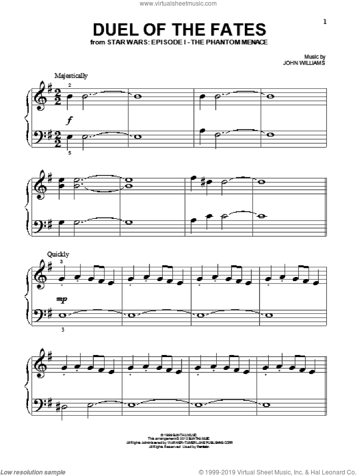 Duel Of The Fates (from Star Wars: The Phantom Menace) sheet music for piano solo (big note book) by John Williams and Star Wars (Movie), easy piano (big note book)