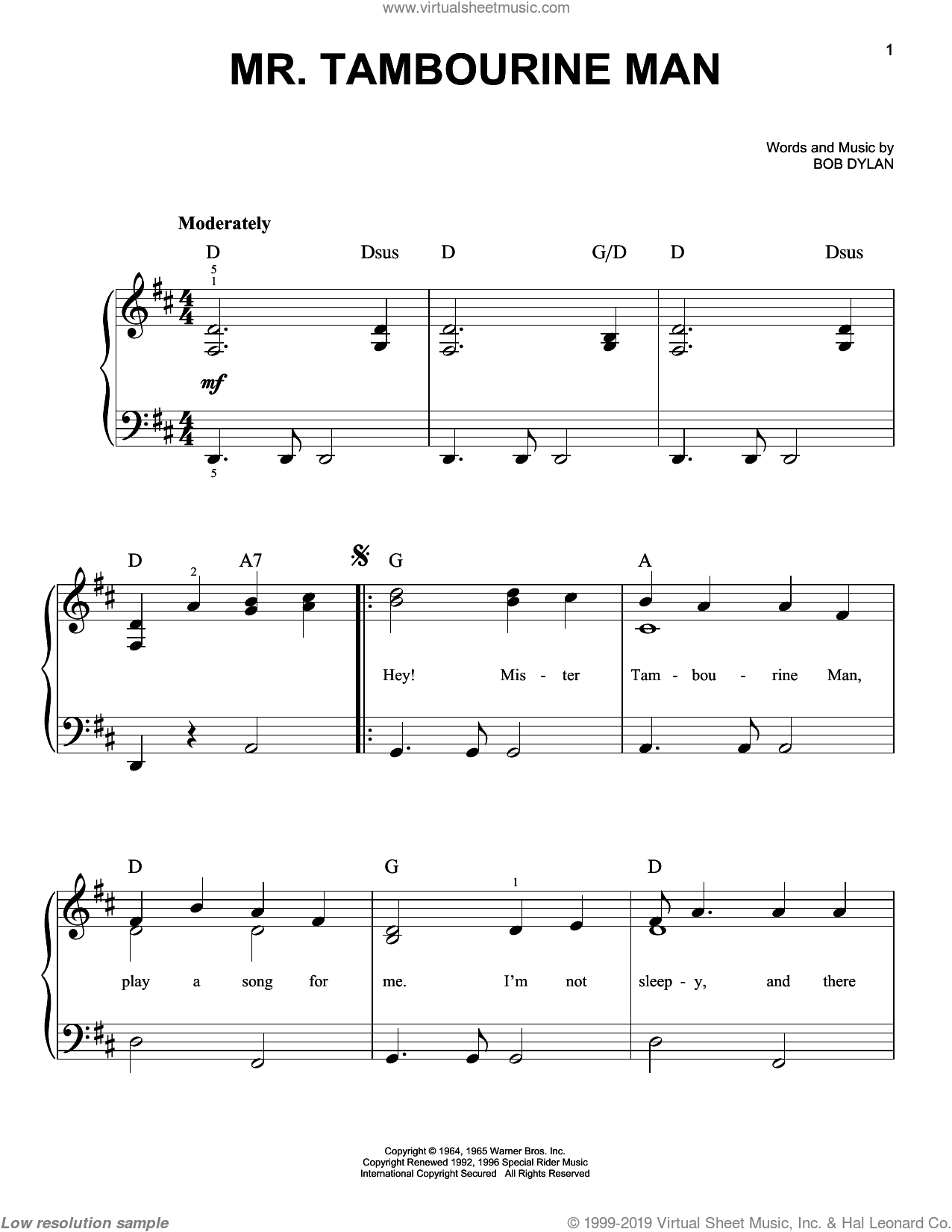 Mr. Tambourine Man sheet music for piano solo by Bob Dylan, easy. Score Image Preview.