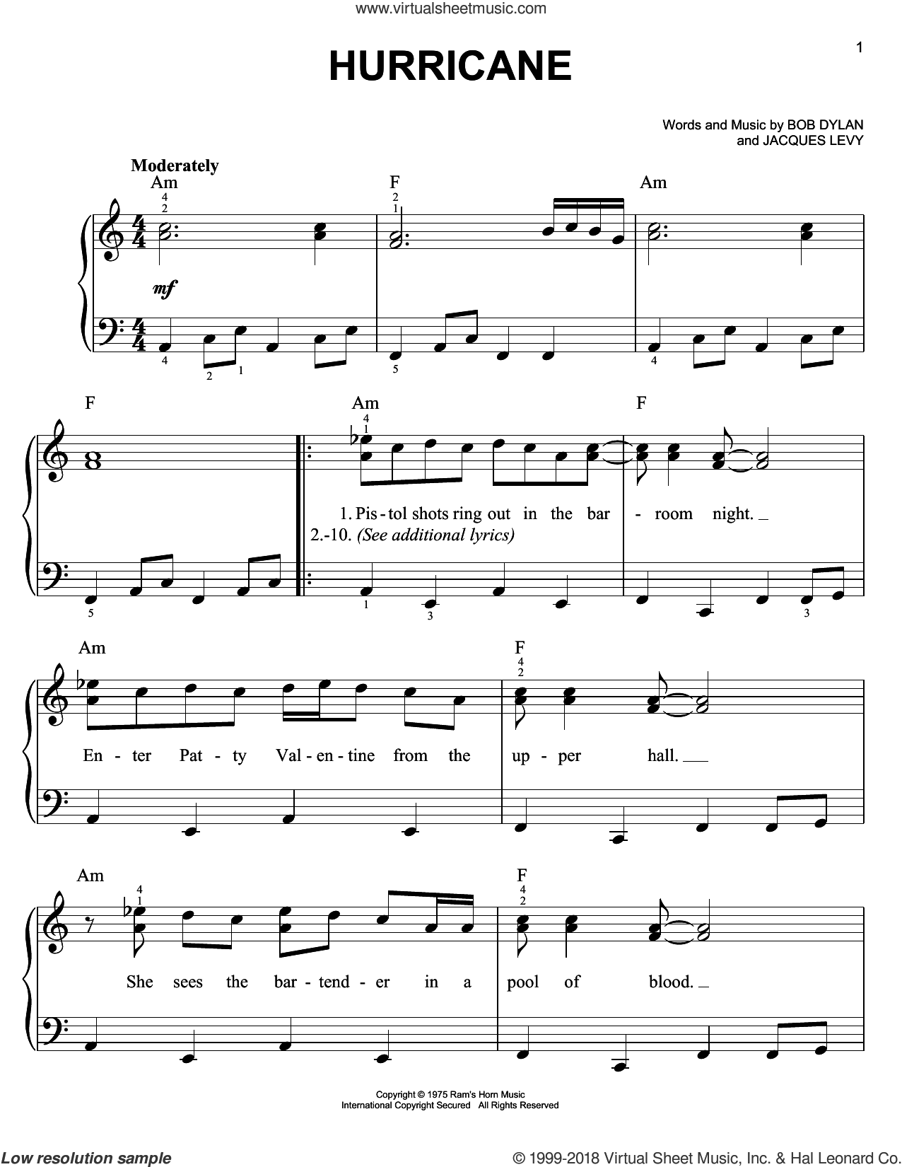 Hurricane sheet music for piano solo by Bob Dylan and Jacques Levy, easy skill level