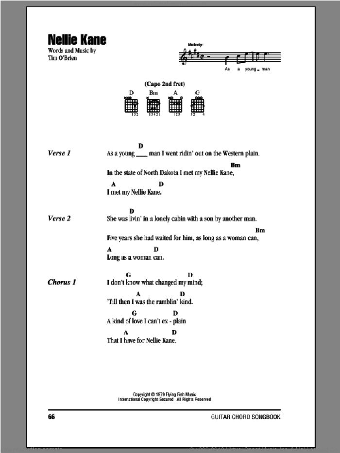 Nellie Kane sheet music for guitar (chords) by Tim O'Brien. Score Image Preview.