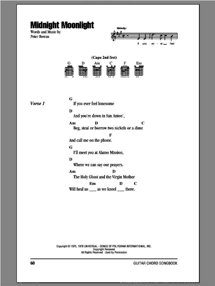 Midnight Moonlight sheet music for guitar (chords) by Peter Rowan. Score Image Preview.