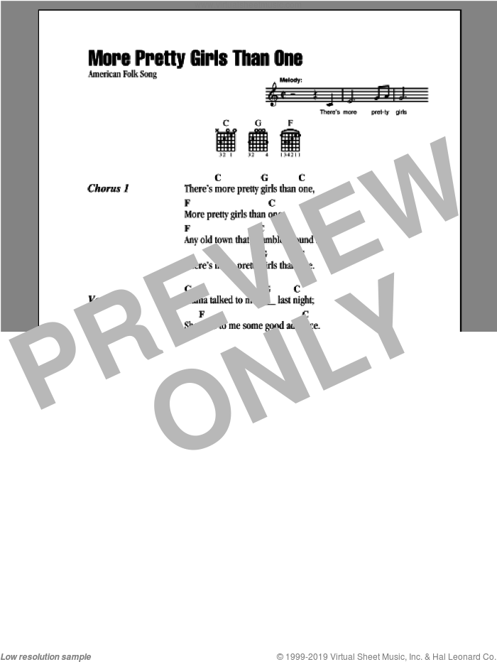 More Pretty Girls Than One sheet music for guitar (chords). Score Image Preview.