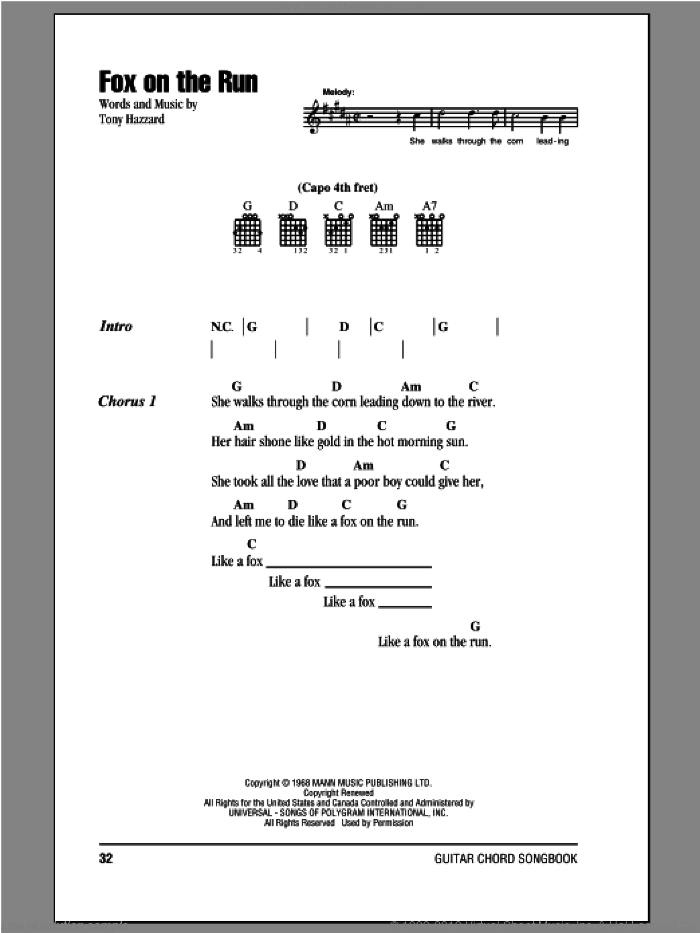 Fox On The Run sheet music for guitar (chords) by Bill Emerson and Tony Hazzard. Score Image Preview.