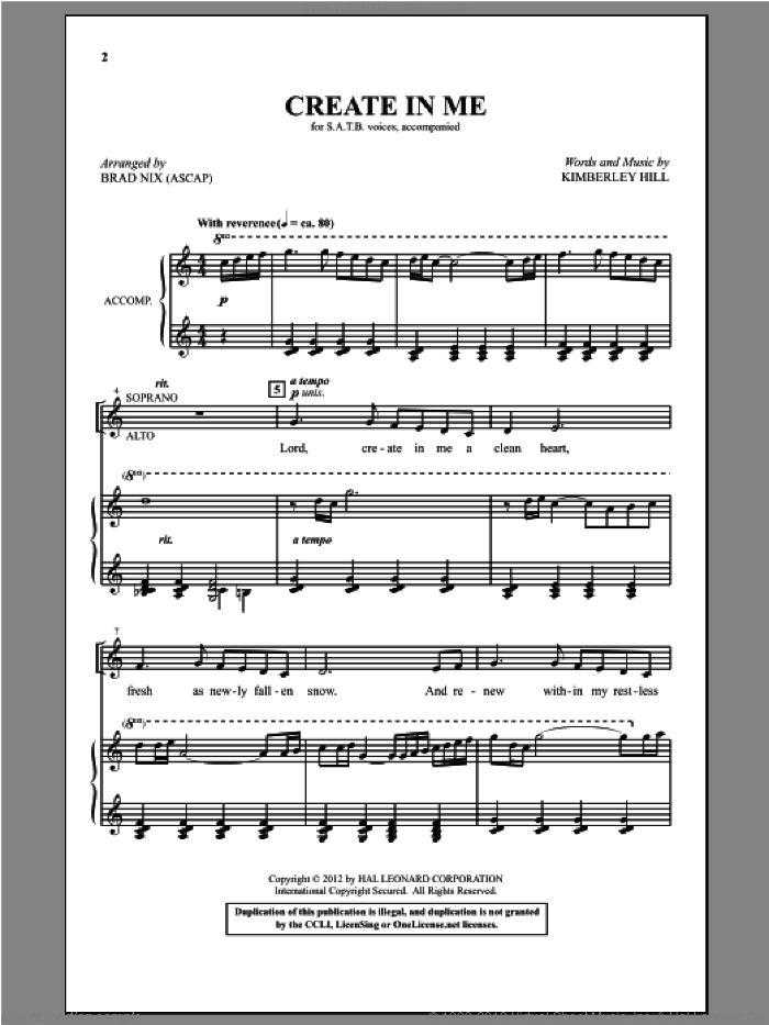 Create In Me sheet music for choir and piano (SATB) by Kimberley Hill and Brad Nix