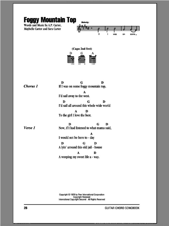 Foggy Mountain Top sheet music for guitar (chords) by The Carter Family, A.P. Carter, Maybelle Carter and Sara Carter, intermediate skill level