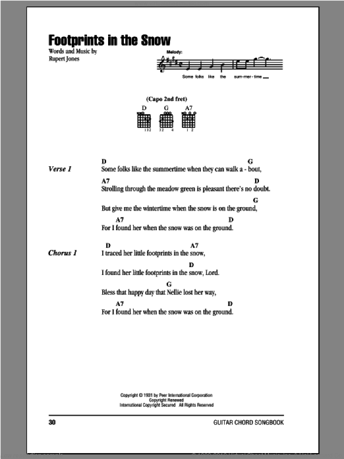 Footprints In The Snow sheet music for guitar (chords) by Rupert Jones. Score Image Preview.
