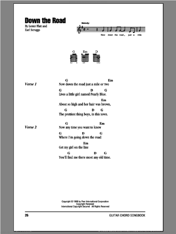 Down The Road sheet music for guitar (chords) by Flatt & Scruggs, Earl Scruggs and Lester Flatt, intermediate skill level