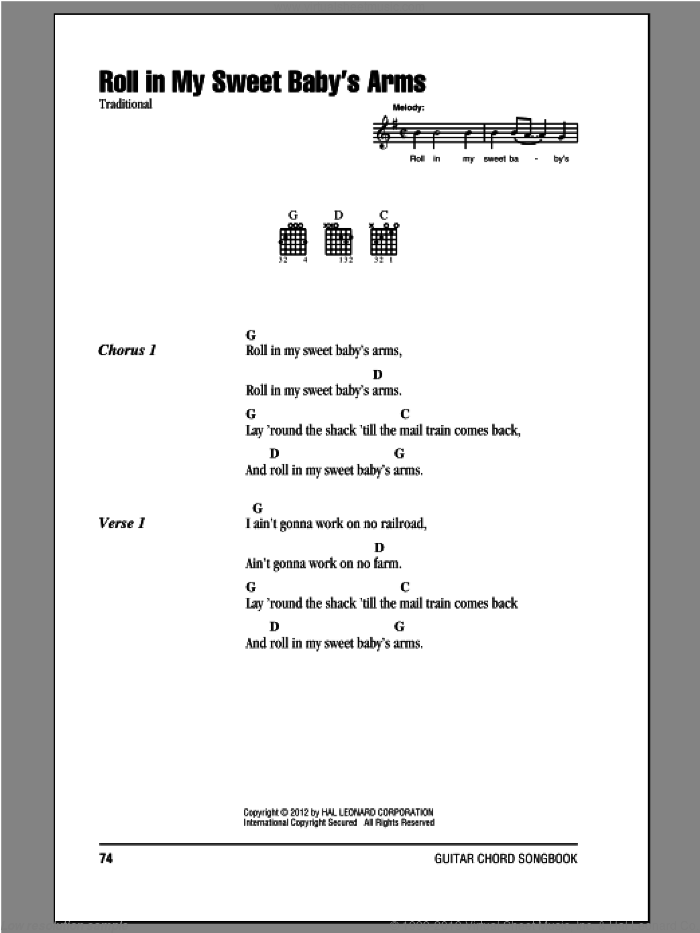 Roll In My Sweet Baby's Arms sheet music for guitar (chords), intermediate