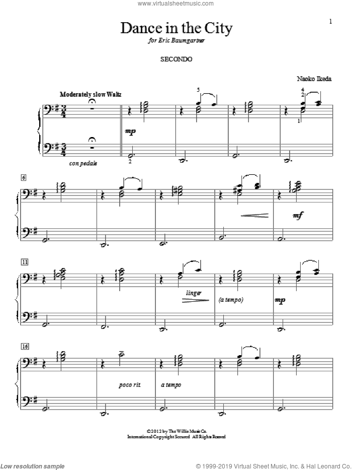 Dance In The City sheet music for piano four hands by Naoko Ikeda, intermediate. Score Image Preview.