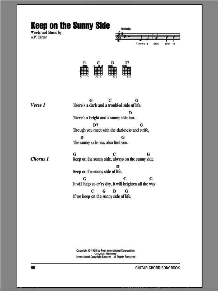 Keep On The Sunny Side sheet music for guitar (chords) by The Carter Family. Score Image Preview.