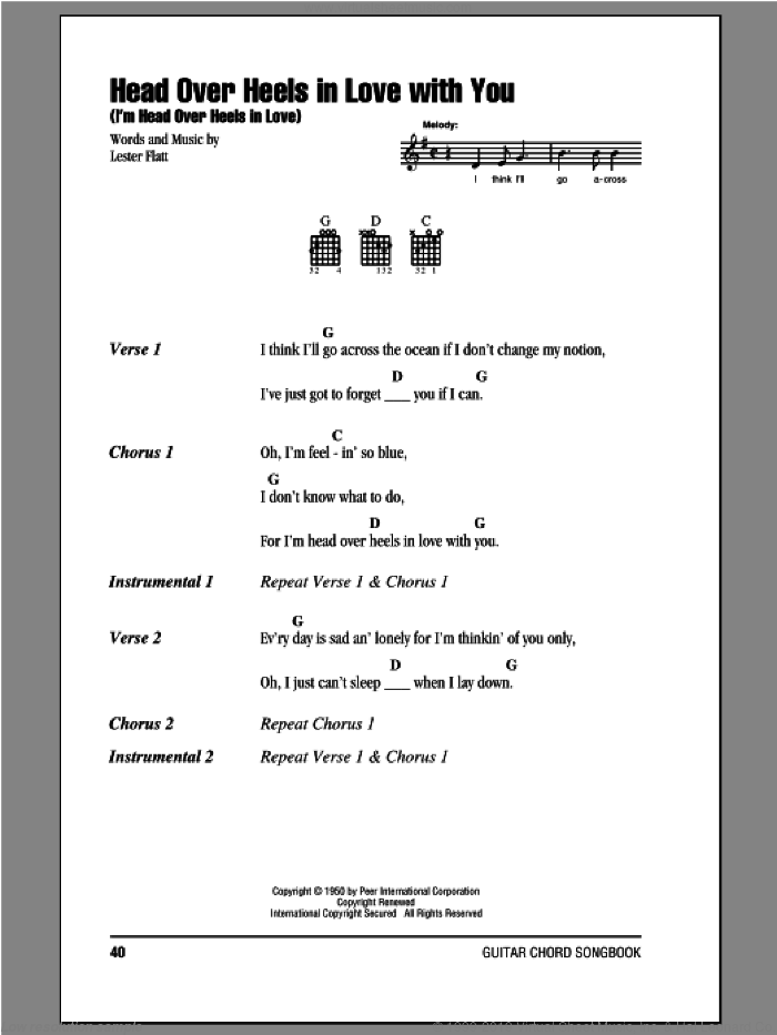 Head Over Heels In Love With You (I'm Head Over Heels In Love) sheet music for guitar (chords) by Lester Flatt, intermediate guitar (chords)