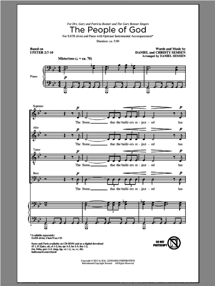 The People Of God sheet music for choir (SATB: soprano, alto, tenor, bass) by Daniel Semsen and Christy Semsen, intermediate skill level