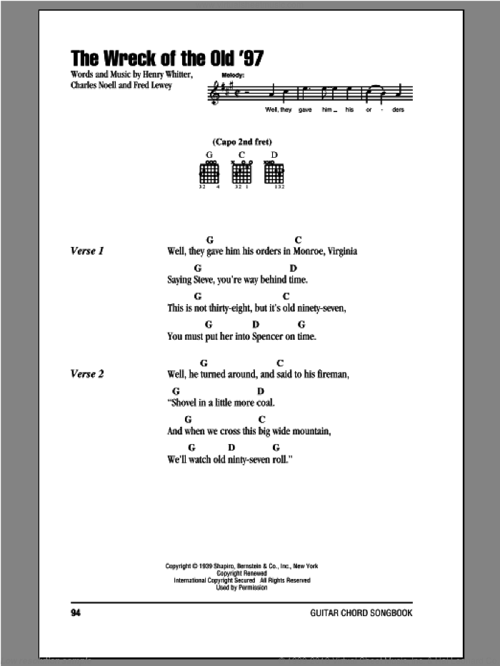 The Wreck Of The Old '97 sheet music for guitar (chords) by Fred Lewey, Charles Noell and Henry Whitter, intermediate skill level