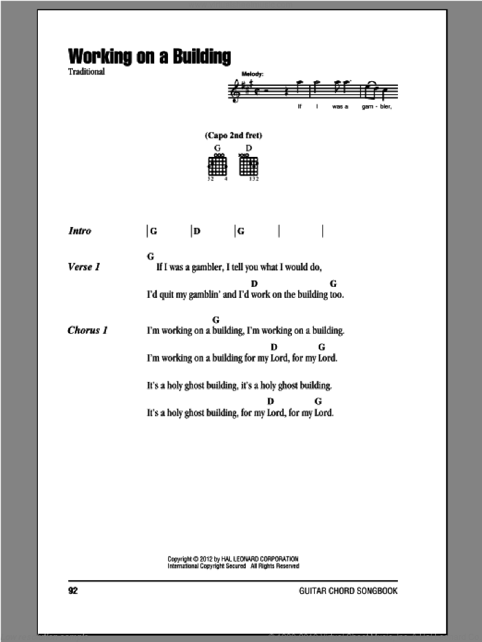 Working On A Building sheet music for guitar (chords, lyrics, melody)