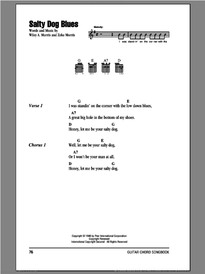 Salty Dog Blues sheet music for guitar (chords) by Wiley A. Morris and Zeke Morris. Score Image Preview.
