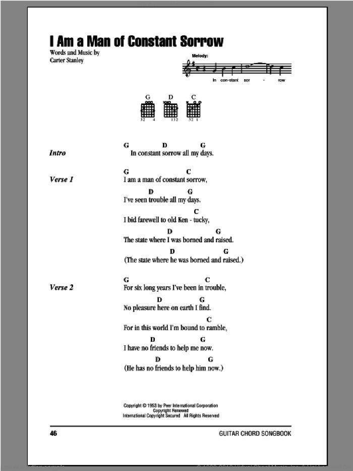 I Am A Man Of Constant Sorrow sheet music for guitar (chords, lyrics, melody) by Carter Stanley