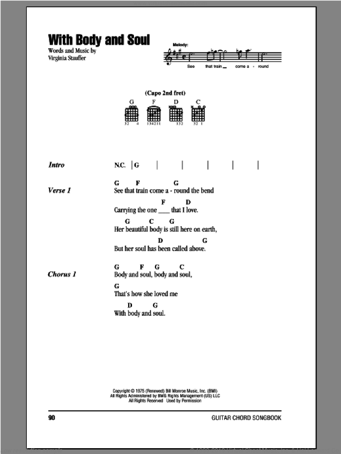 With Body And Soul sheet music for guitar (chords) by The Kentucky Headhunters, intermediate guitar (chords). Score Image Preview.