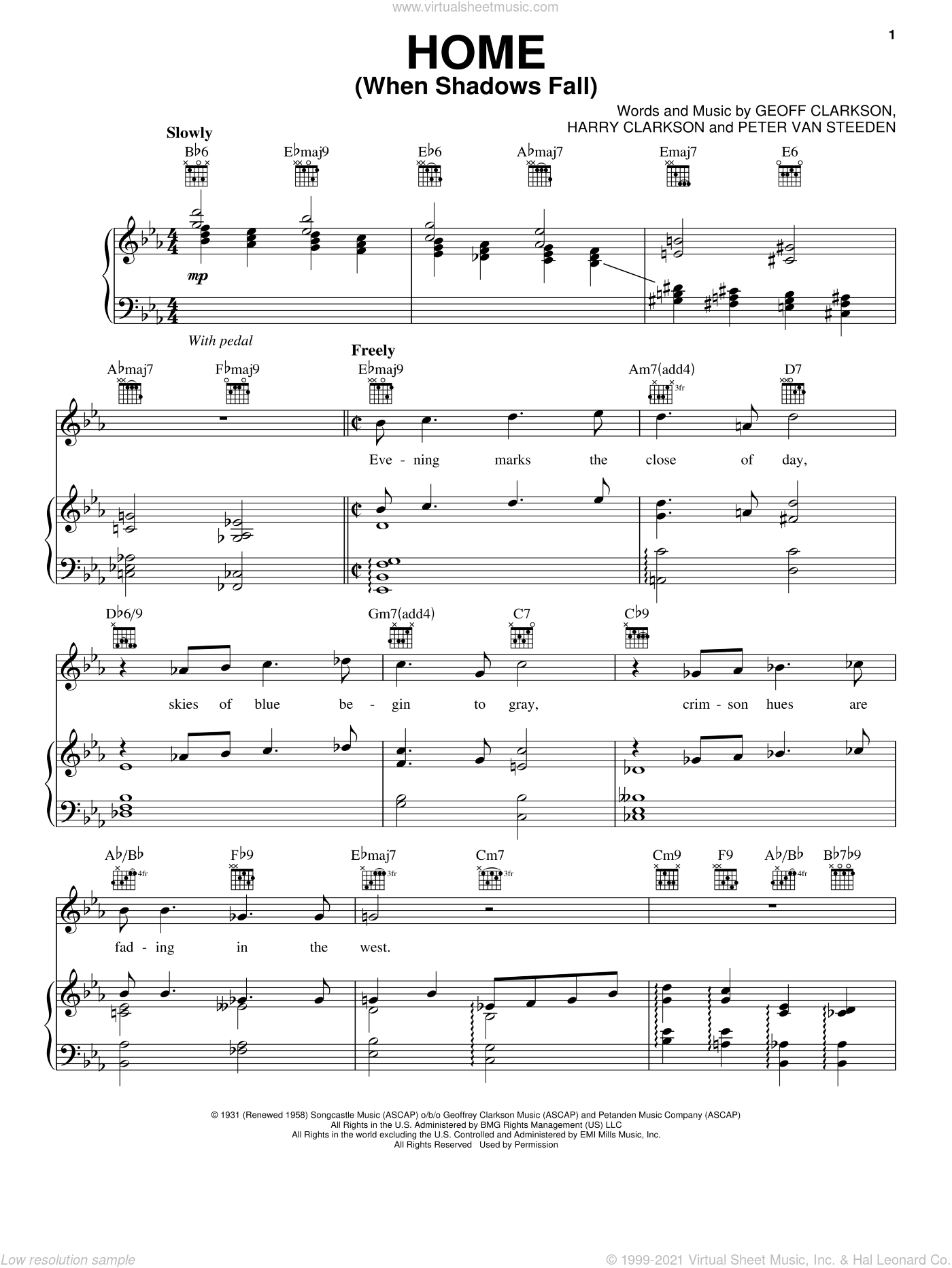 Home (When Shadows Fall) sheet music for voice, piano or guitar by Harry Clarkson