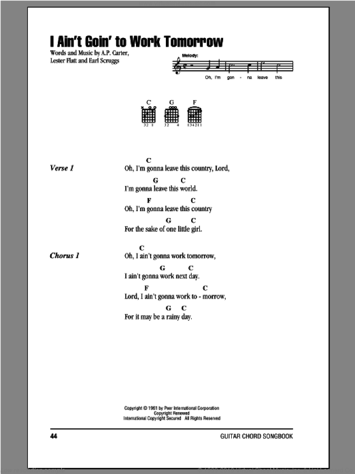 I Ain't Goin' To Work Tomorrow sheet music for guitar (chords) by Lester Flatt, A.P. Carter and Earl Scruggs