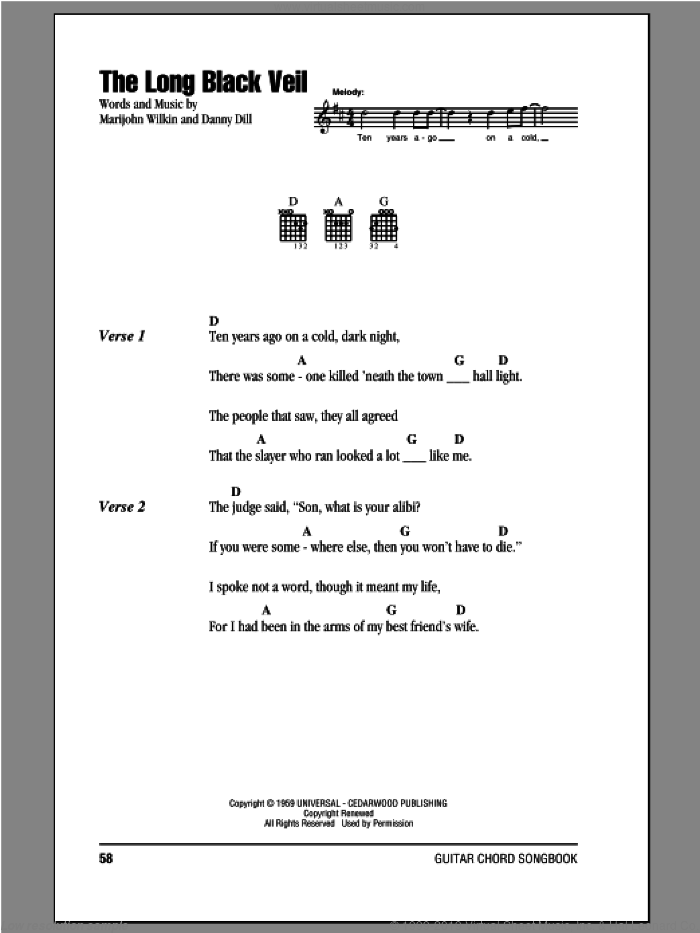 The Long Black Veil sheet music for guitar (chords) by Lefty Frizzell, Danny Dill and Marijohn Wilkin, intermediate. Score Image Preview.