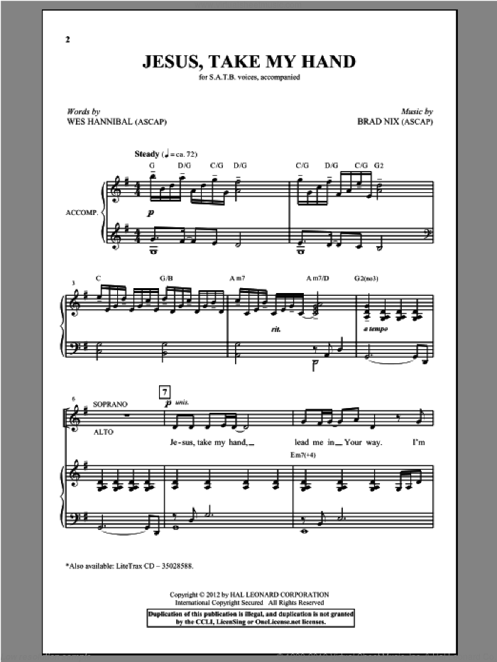 Jesus, Take My Hand sheet music for choir and piano (SATB) by Brad Nix