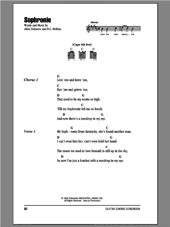 Sophronie sheet music for guitar (chords) by Alton Delmore. Score Image Preview.
