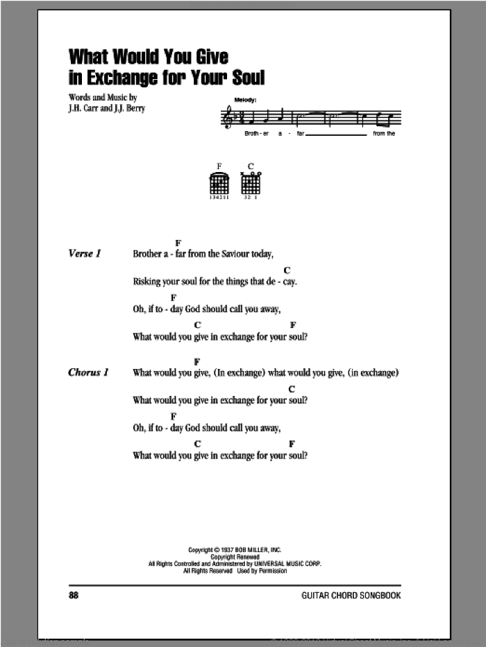 What Would You Give In Exchange For Your Soul sheet music for guitar (chords) by J.J. Berry and Johnny Cash. Score Image Preview.