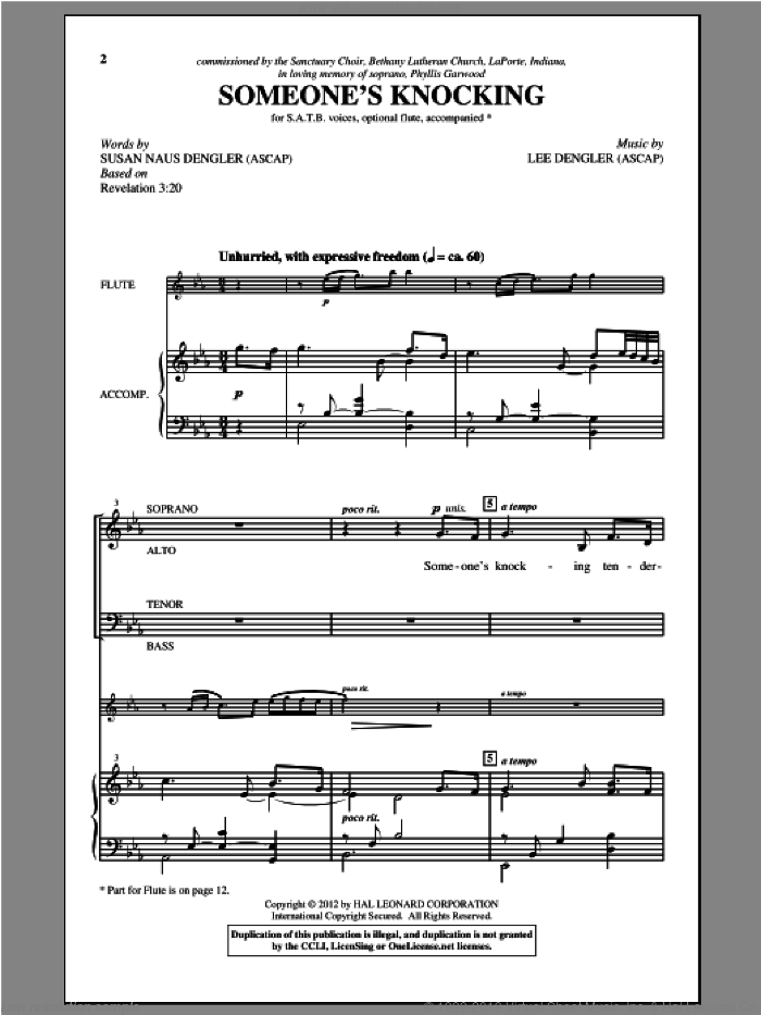 Someone's Knocking sheet music for choir (SATB) by Lee Dengler and Susan Naus Dengler. Score Image Preview.