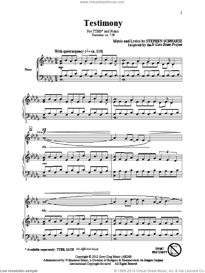 Testimony sheet music for choir (tenor voice, bass voice, choir) by Stephen Schwartz. Score Image Preview.