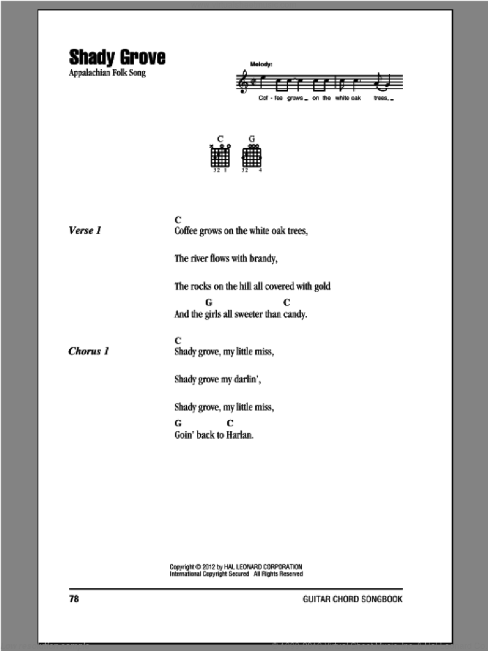 Shady Grove sheet music for guitar (chords) by Appalachian Folk Song, intermediate. Score Image Preview.