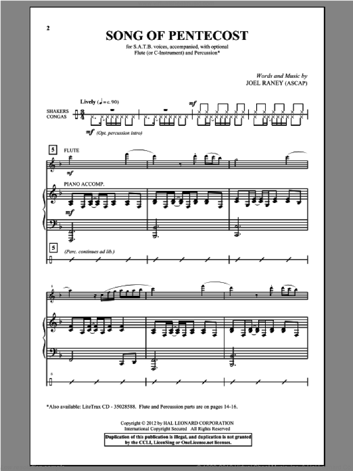 Song Of Pentecost sheet music for choir (SATB) by Joel Raney and Isaac Watts. Score Image Preview.