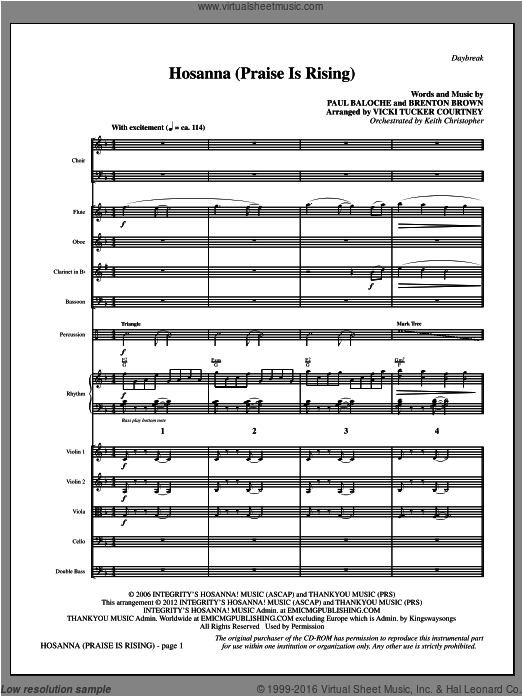 Hosanna (Praise Is Rising) (COMPLETE) sheet music for orchestra by Brenton Brown, Paul Baloche and Vicki Tucker Courtney. Score Image Preview.