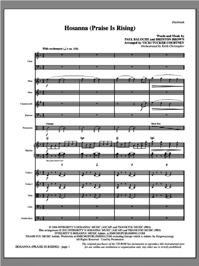 Hosanna (Praise Is Rising) (complete set of parts) sheet music for orchestra/band (Woodwinds/Percussion/Strings) by Paul Baloche, Brenton Brown and Vicki Tucker Courtney, intermediate. Score Image Preview.