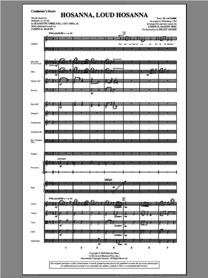 Hosanna, Loud Hosanna (from 'Covenant Of Grace') (complete set of parts) sheet music for orchestra/band (Orchestra) by Joseph M. Martin, intermediate skill level