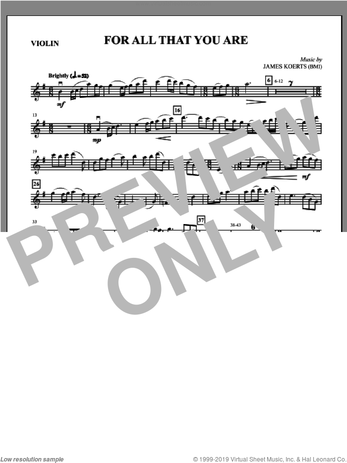 For All That You Are sheet music for orchestra/band (violin) by James Koerts