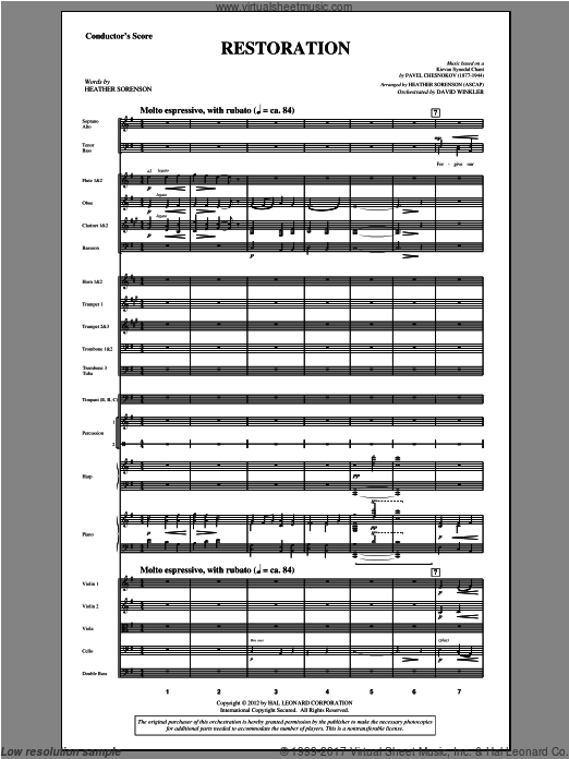 Restoration (COMPLETE) sheet music for orchestra by Pavel Chesnokov