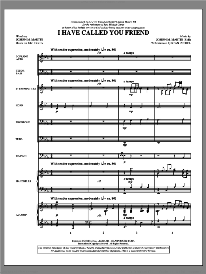 I Have Called You Friend (complete set of parts) sheet music for orchestra/band (Brass/Percussion) by Joseph Martin and Joseph M. Martin, intermediate skill level