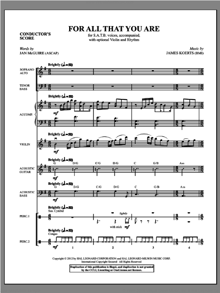 For All That You Are (complete set of parts) sheet music for orchestra/band (Instrumental Parts) by James Koerts, intermediate. Score Image Preview.