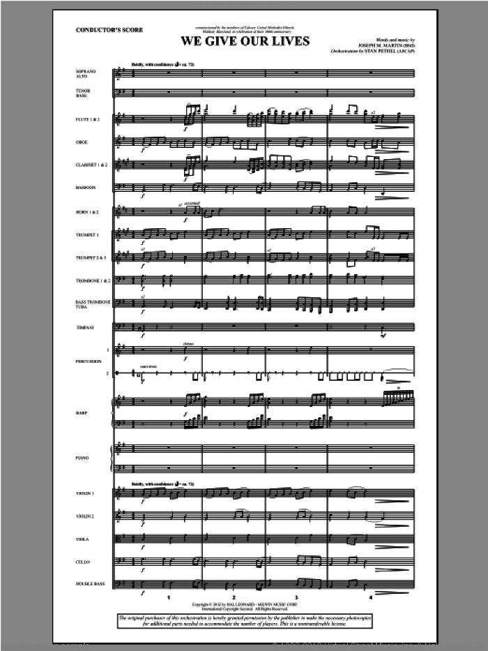 We Give Our Lives (complete set of parts) sheet music for orchestra/band (Orchestra) by Joseph M. Martin, intermediate skill level