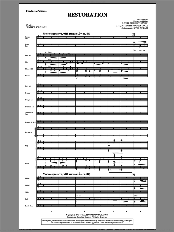 Restoration (complete set of parts) sheet music for orchestra/band (Orchestra) by Pavel Chesnokov and Heather Sorenson, intermediate skill level