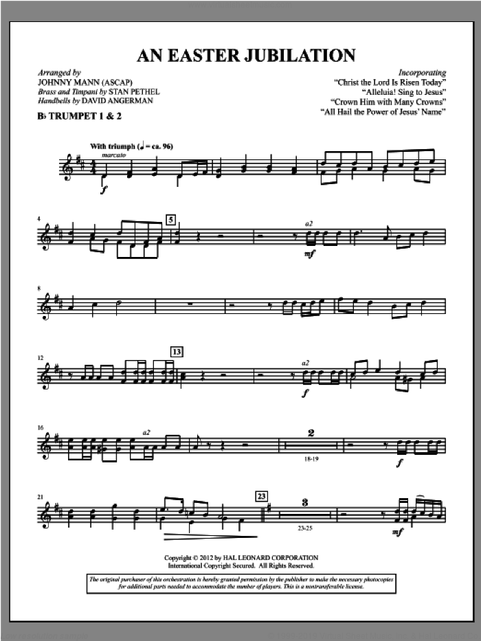 An Easter Jubilation sheet music for orchestra/band (Bb trumpet 1,2) by Johnny Mann
